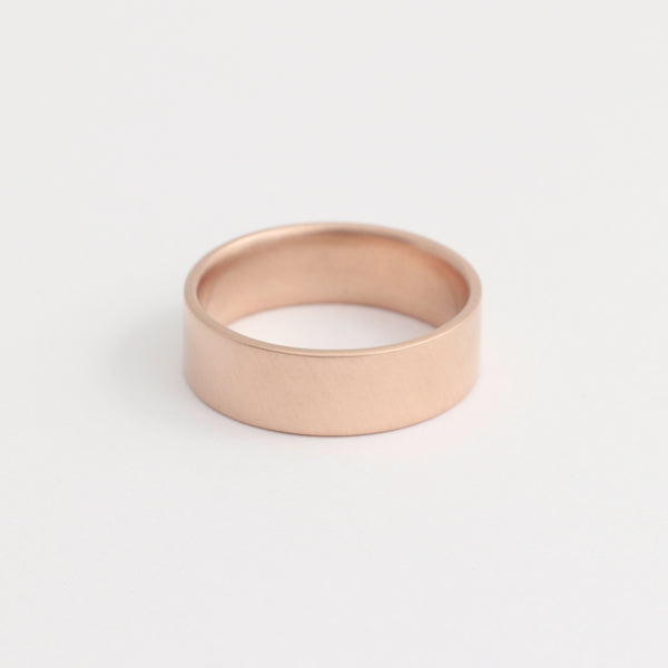 Rose Gold Wedding Band - 6mm Wide - Flat - Polished