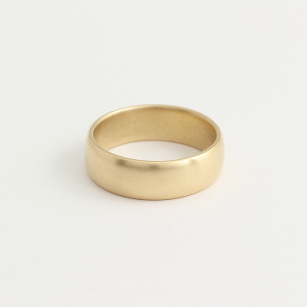 Yellow Gold Wedding Band - 6mm Wide - Rounded - Polished