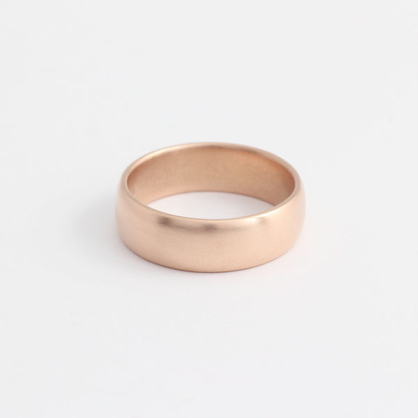 Rose Gold Wedding Band - 6mm Wide - Rounded - Matte