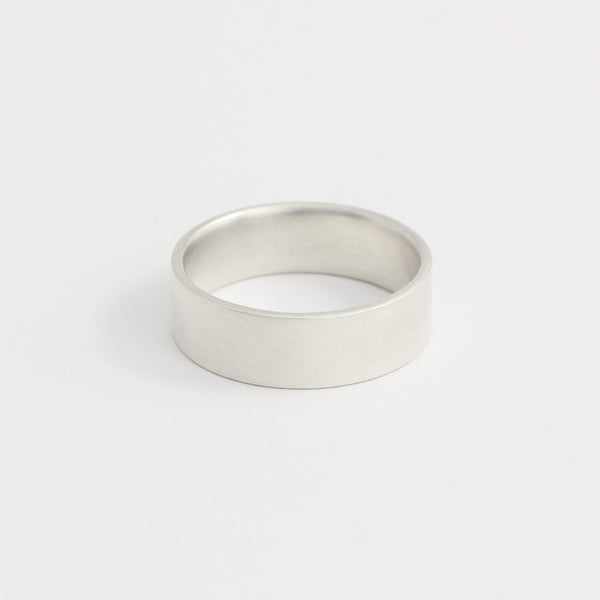 White Gold Wedding Band - 6mm Wide - Flat - Polished