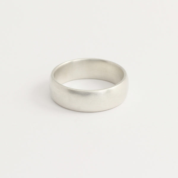 White Gold Wedding Band - 6mm Wide - Rounded - Polished