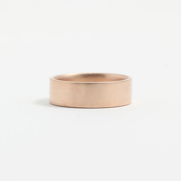 Rose Gold Wedding Band - 6mm Wide - Flat - Matte