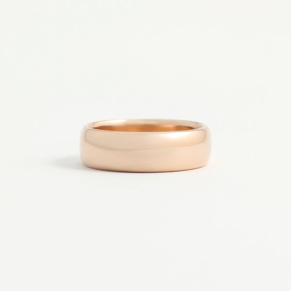 Rose Gold Wedding Band - 6mm Wide - Rounded - Polished