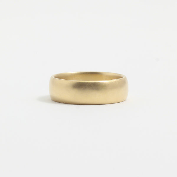 Yellow Gold Wedding Band - 6mm Wide - Rounded - Matte