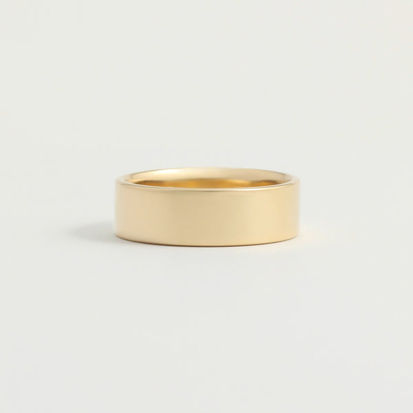 Yellow Gold Wedding Band - 6mm Wide - Flat - Polished
