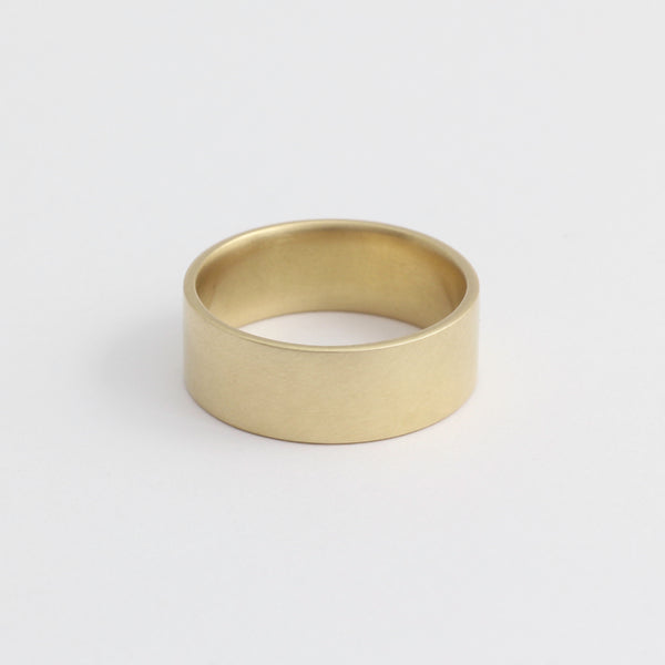Yellow Gold Wedding Band - 7mm Wide - Flat - Polished