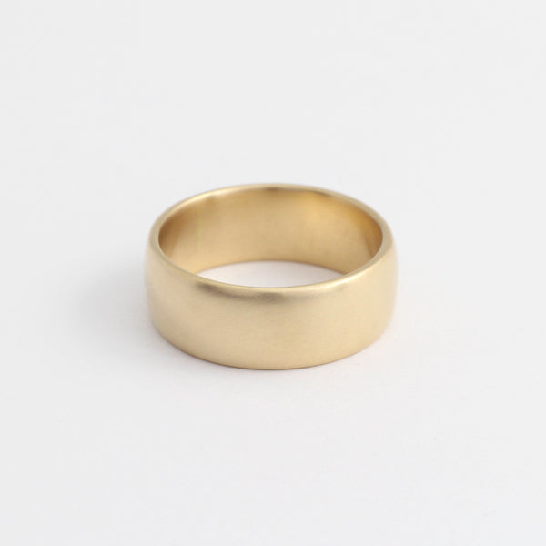 Yellow Gold Wedding Band - 7mm Wide - Rounded - Polished