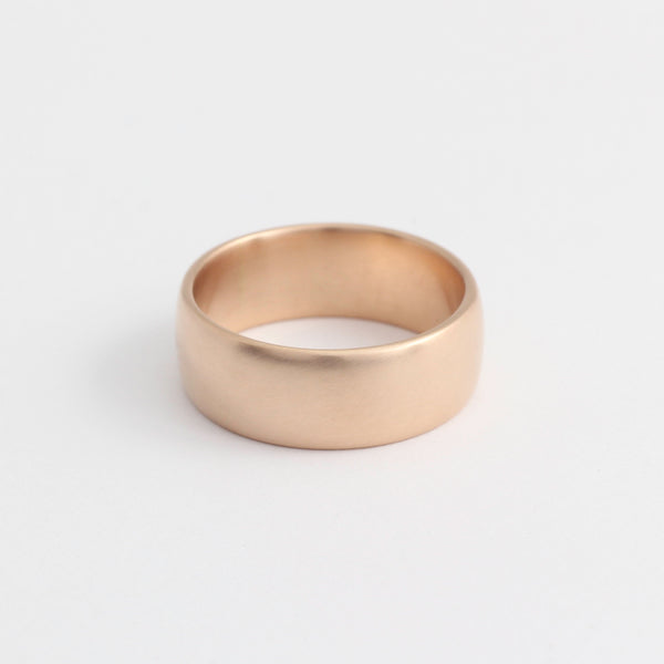 Rose Gold Wedding Band - 7mm Wide - Rounded - Matte