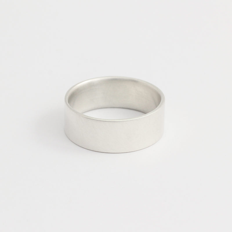 White Gold Wedding Band - 7mm Wide - Flat - Matte