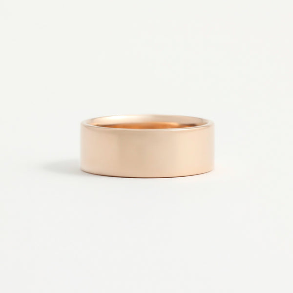 Rose Gold Wedding Band - 7mm Wide - Flat - Polished