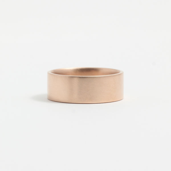 Rose Gold Wedding Band - 7mm Wide - Flat - Matte