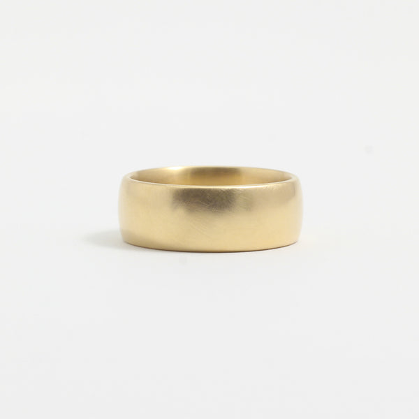 Yellow Gold Wedding Band - 7mm Wide - Rounded - Matte