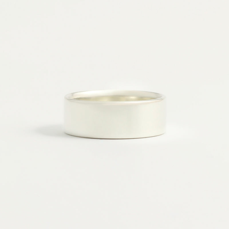 White Gold Wedding Band - 7mm Wide - Flat - Polished