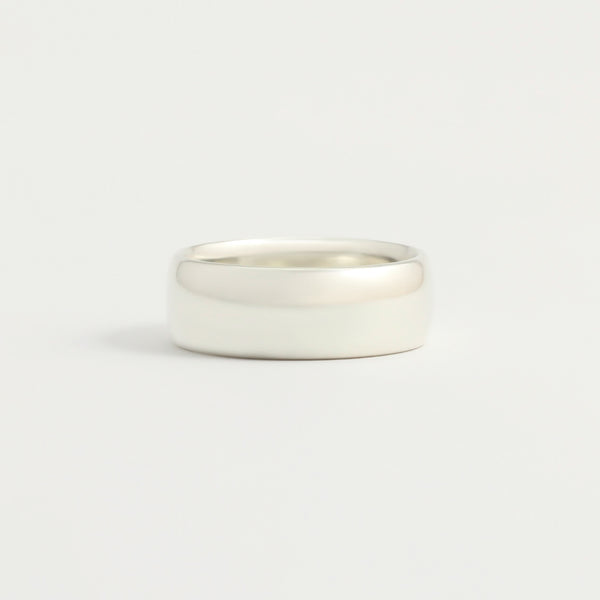 White Gold Wedding Band - 7mm Wide - Rounded - Polished