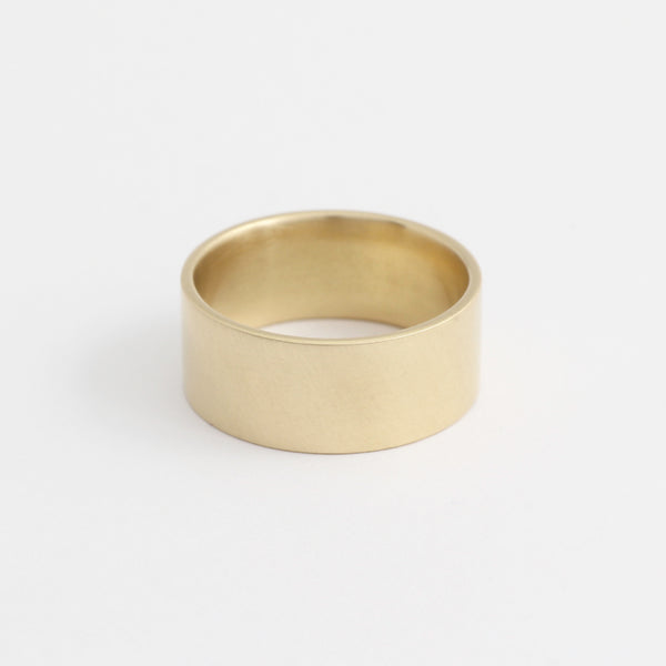 Yellow Gold Wedding Band - 8mm Wide - Flat - Polished