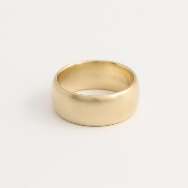 Yellow Gold Wedding Band - 8mm Wide - Rounded - Matte