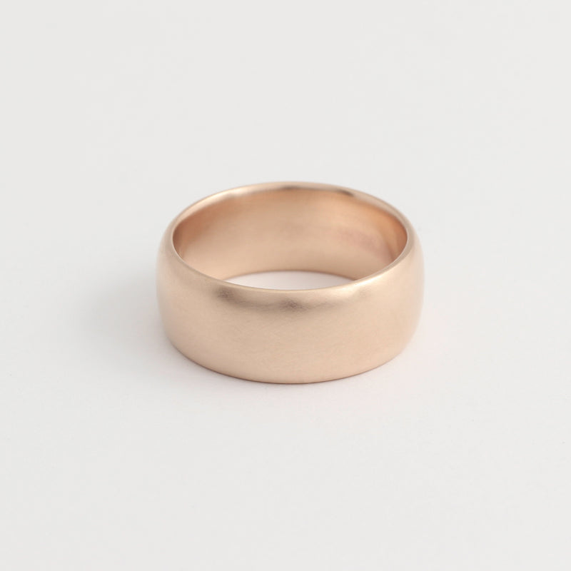 Rose Gold Wedding Band - 8mm Wide - Rounded - Matte