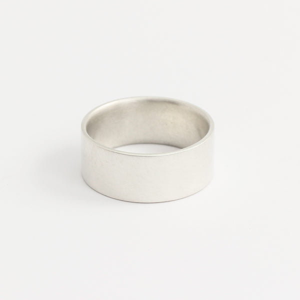White Gold Wedding Band - 8mm Wide - Flat - Polished