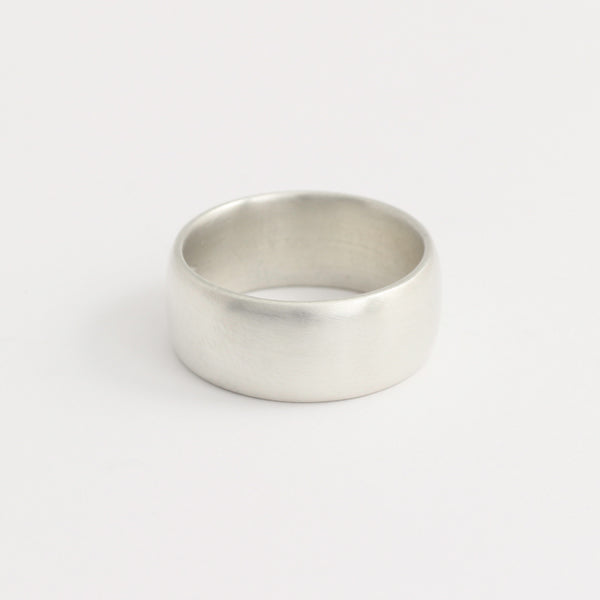 White Gold Wedding Band - 8mm Wide - Rounded - Matte