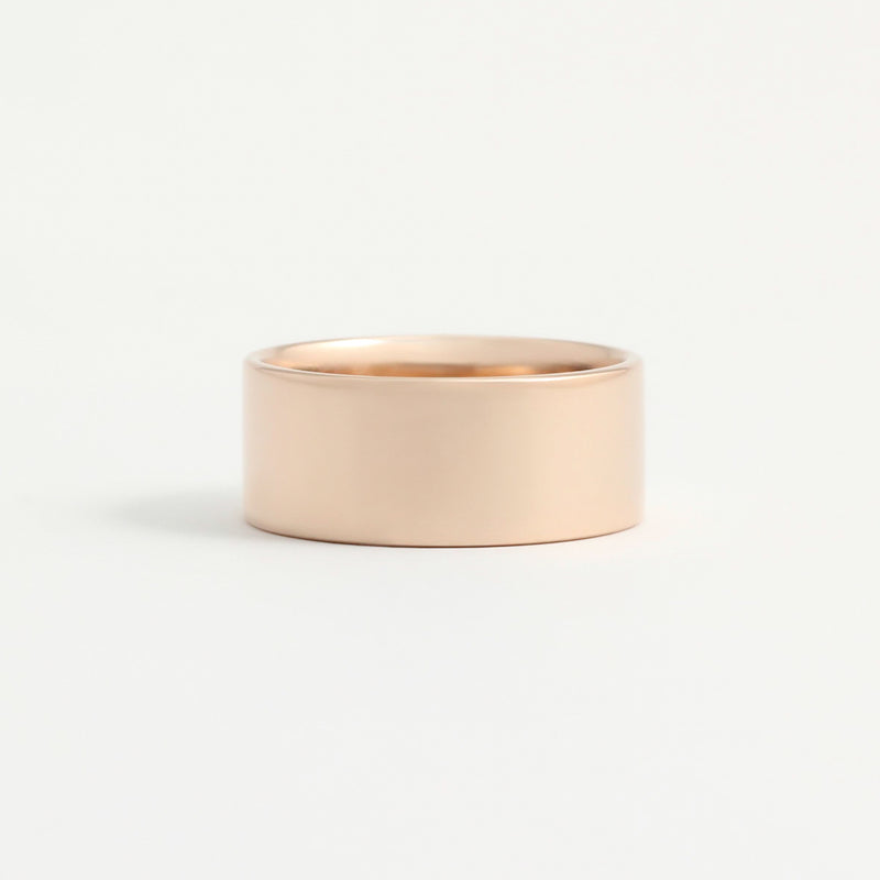 Rose Gold Wedding Band - 8mm Wide - Flat - Polished
