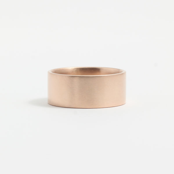 Rose Gold Wedding Band - 8mm Wide - Flat - Matte