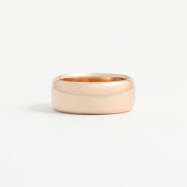 Rose Gold Wedding Band - 8mm Wide - Rounded - Polished