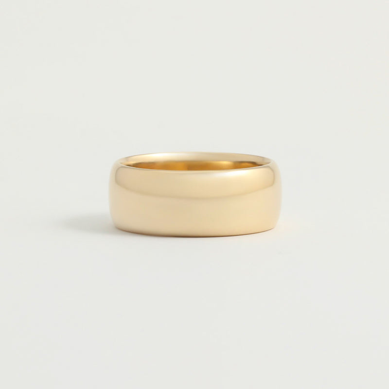 Yellow Gold Wedding Band - 8mm Wide - Rounded - Polished