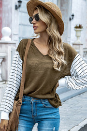 V-Neck Long-Sleeved Striped Stitching Shirt