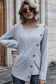 Solid-color Irregular Button Round Neck Top