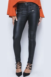 Leather Slim Zipper Pants