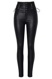 Leather High Waistband Buckle Pants