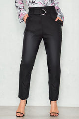 Belt Straight Leather Pants