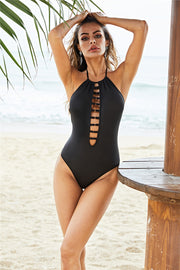 Solid Color Halter Design One-Piece Swimsuit