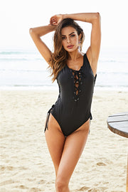 Open Back Strap One-Piece Swimsuit