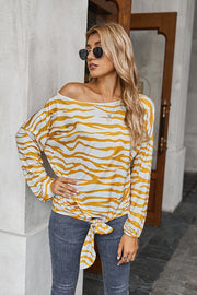 Printed Crew Neck Off Shoulder T-shirt