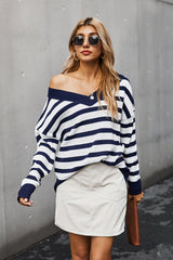 V-neck Off Shoulder Stripe T-shirt