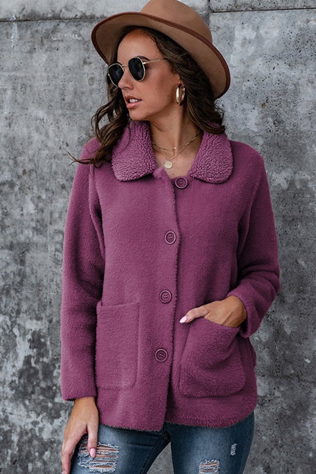 Lapel Solid Color Buttons Thicken Coat