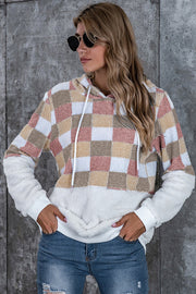 Large Plaid Loose Hooded Sweater