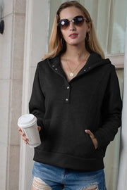 Hooded Pocket Button Solid Color Sweater