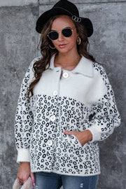 Leopard Print Stitching Button Plush Coat