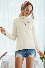 High Collar Pocket Long Sleeve Knit