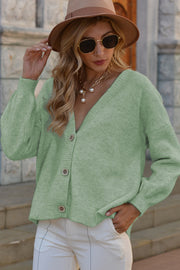 Solid Color V-neck Button Knit Cardigan Coat