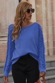 Fringed Solid Color Round Neck Sweater