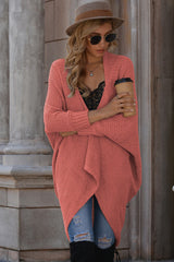 Solid Color Bat Sleeve Cardigan Knit Sweater