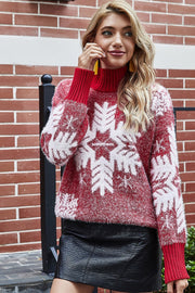 Christmas Snowflake Printed Long Sleeve Sweater