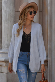 Solid Color V-neck Medium-length Cardigan