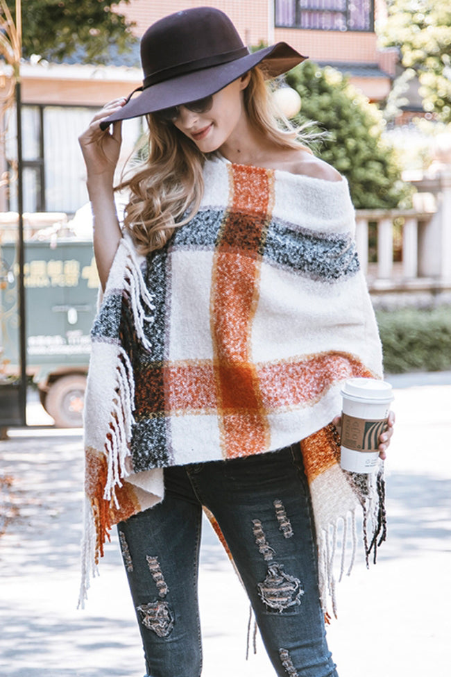V-neck Irregular Tassel Sleeveless Cloak Sweater