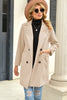 Solid Color Long Lapel Button Woolen Coat