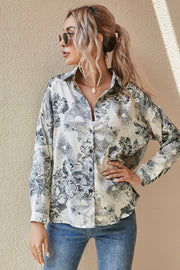 Splash Printed Long-Sleeved Turn-down Collar Shirt