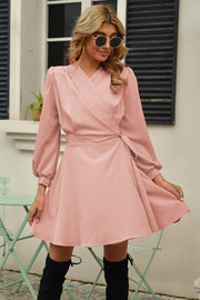 Large Swing Long-Sleeved Tie Dress